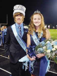 MILLBROOKHOMECOMING14--Cal Lockley was named Millbrook H.S. Homecoming King and Lexy Keeler was named Homecoming Queen Fri. evening during the school's varsity football game against Jefferson H.S. Cal is the son of Lindsey and Rocky Lockley and Lexy is the daughter of Kristie and Blair Keeler. 10/10/2014 SCOTT MASON